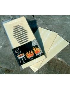 Tinder card. Tabletas de yesca de emergencia impregnadas para encender fuego. Aptas para encendedores de ferrocerio.