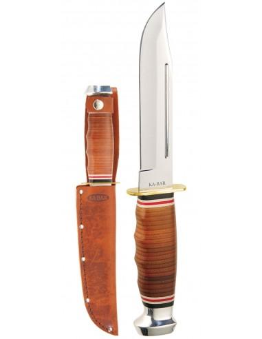 Cuchillo Ka-Bar Marine Hunter-Stacked Leather Handle